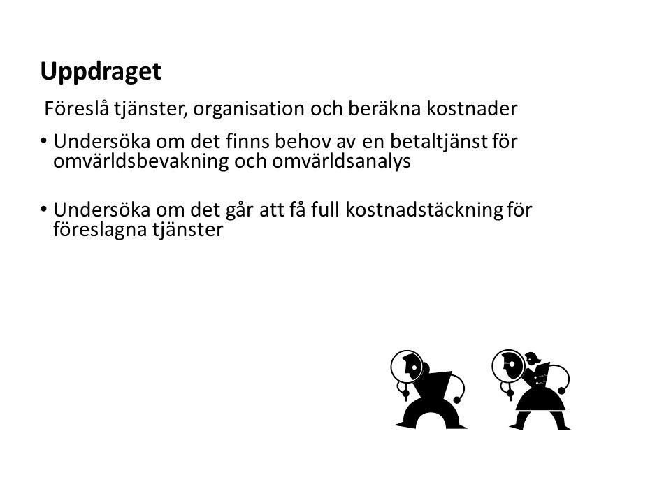 Sv • Enkät i början av juni 2013 till rektorer vid 40 lärosäten • Tre frågeområden:  Hur bedriver lärosätet omvärldsbevakning och omvärldsanalys idag.