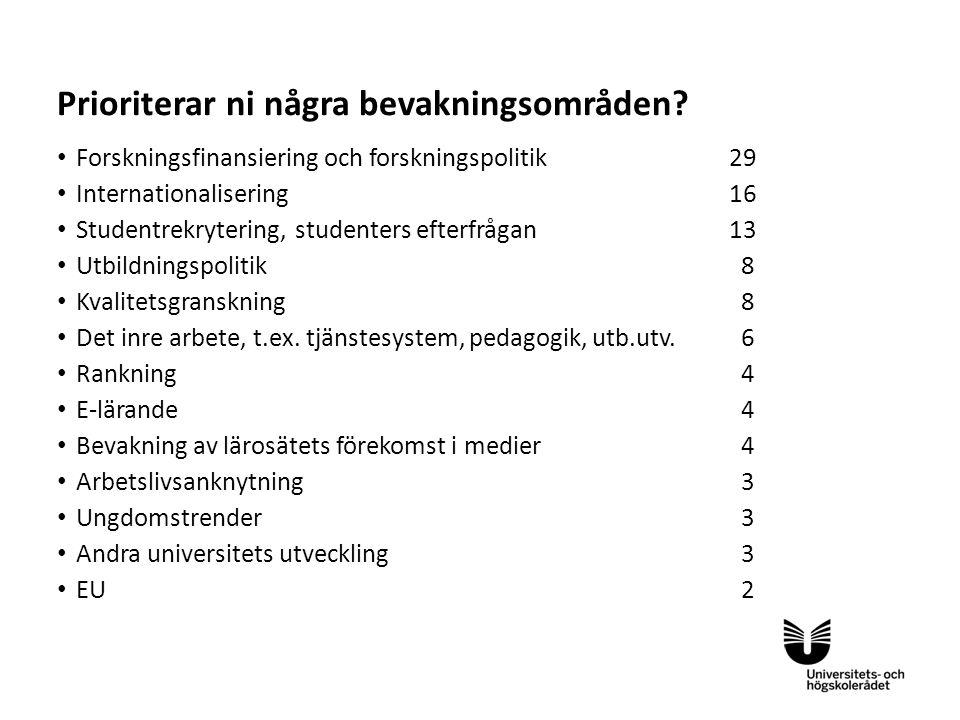 Sv • Forskningsfinansiering och forskningspolitik29 • Internationalisering 16 • Studentrekrytering, studenters efterfrågan 13 • Utbildningspolitik 8 •