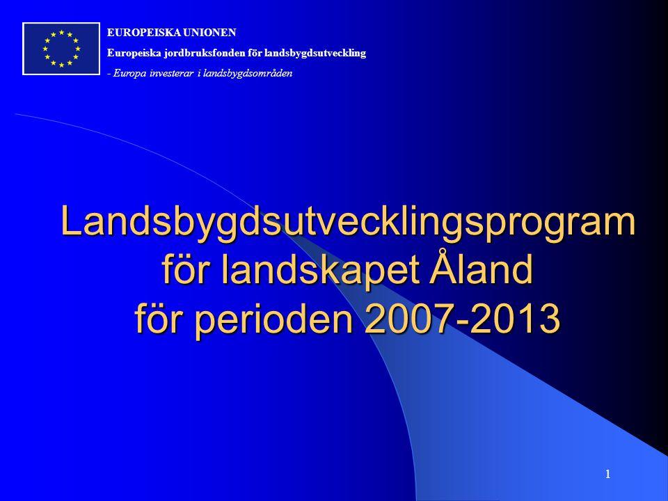 Landsbygdsutvecklingsprogram för landskapet Åland för perioden 2007-2013 EUROPEISKA UNIONEN Europeiska jordbruksfonden för landsbygdsutveckling - Europa investerar i landsbygdsområden 1
