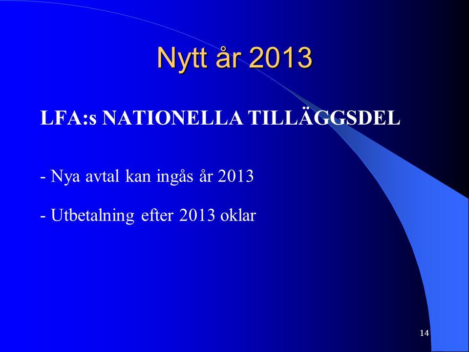 Nytt år 2013 LFA:s NATIONELLA TILLÄGGSDEL - Nya avtal kan ingås år 2013 - Utbetalning efter 2013 oklar 14