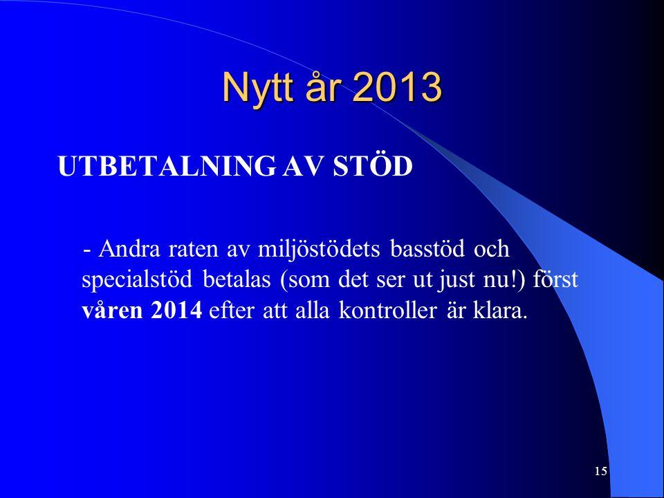 Nytt år 2013 UTBETALNING AV STÖD - Andra raten av miljöstödets basstöd och specialstöd betalas (som det ser ut just nu!) först våren 2014 efter att alla kontroller är klara.