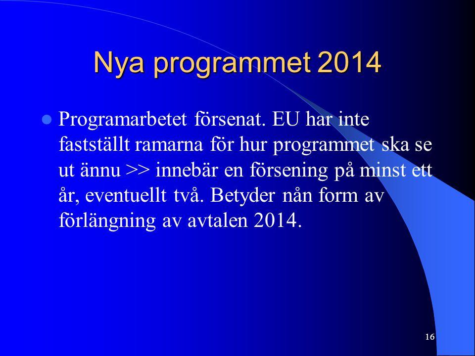 Nya programmet 2014  Programarbetet försenat.