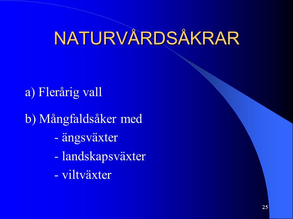 NATURVÅRDSÅKRAR a) Flerårig vall b) Mångfaldsåker med - ängsväxter - landskapsväxter - viltväxter 25