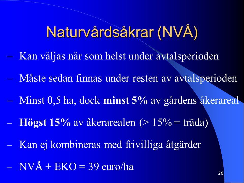 Naturvårdsåkrar (NVÅ) –Kan väljas när som helst under avtalsperioden –Måste sedan finnas under resten av avtalsperioden –Minst 0,5 ha, dock minst 5% av gårdens åkerareal – Högst 15% av åkerarealen (> 15% = träda) – Kan ej kombineras med frivilliga åtgärder – NVÅ + EKO = 39 euro/ha 26