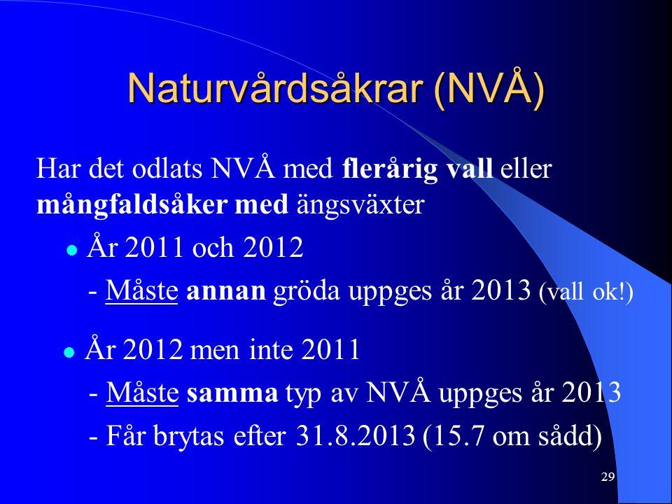 Naturvårdsåkrar (NVÅ) Har det odlats NVÅ med flerårig vall eller mångfaldsåker med ängsväxter  År 2011 och 2012 - Måste annan gröda uppges år 2013 (vall ok!)  År 2012 men inte 2011 - Måste samma typ av NVÅ uppges år 2013 - Får brytas efter 31.8.2013 (15.7 om sådd) 29