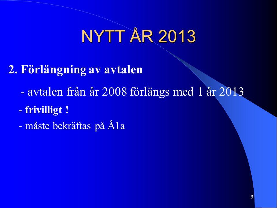 NYTT ÅR 2013 2. Förlängning av avtalen - avtalen från år 2008 förlängs med 1 år 2013 - frivilligt .