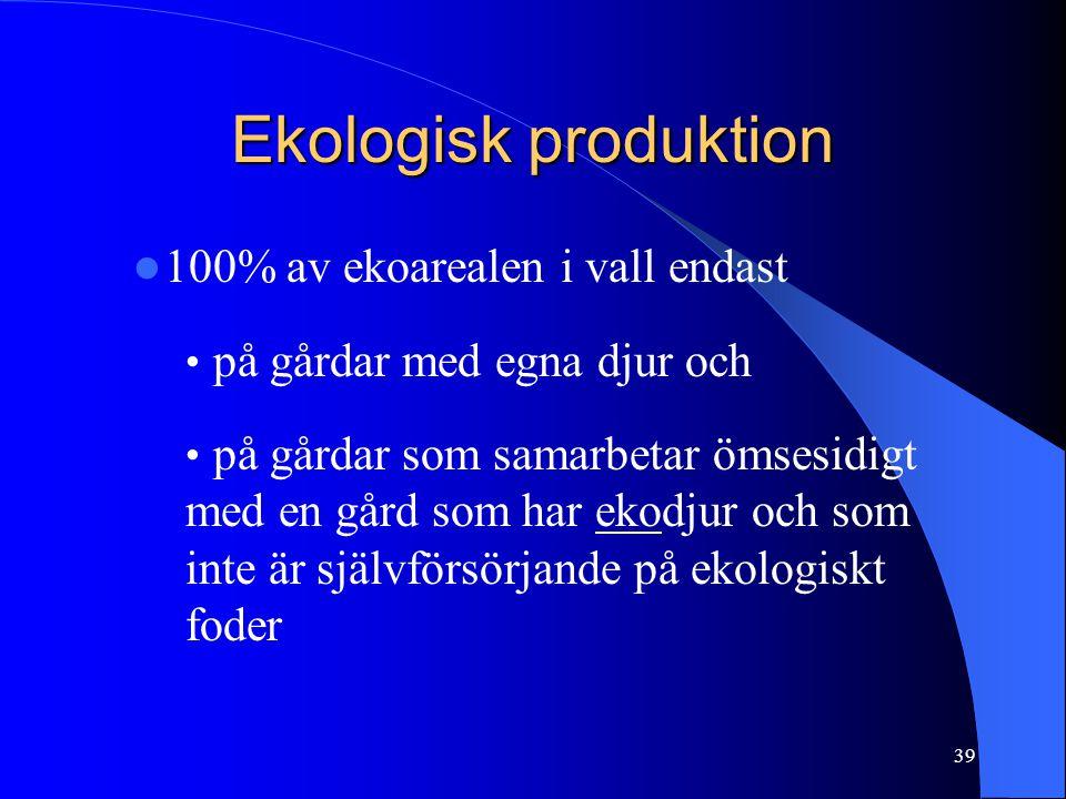 Ekologisk produktion  100% av ekoarealen i vall endast • på gårdar med egna djur och • på gårdar som samarbetar ömsesidigt med en gård som har ekodjur och som inte är självförsörjande på ekologiskt foder 39