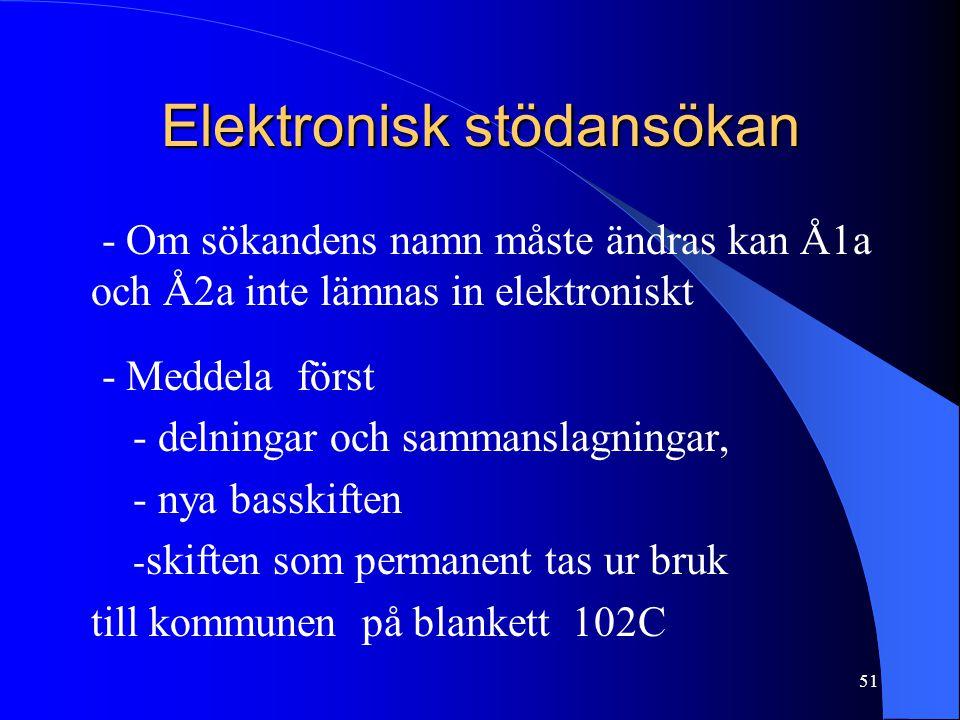 Elektronisk stödansökan - Om sökandens namn måste ändras kan Å1a och Å2a inte lämnas in elektroniskt - Meddela först - delningar och sammanslagningar, - nya basskiften - skiften som permanent tas ur bruk till kommunen på blankett 102C 51