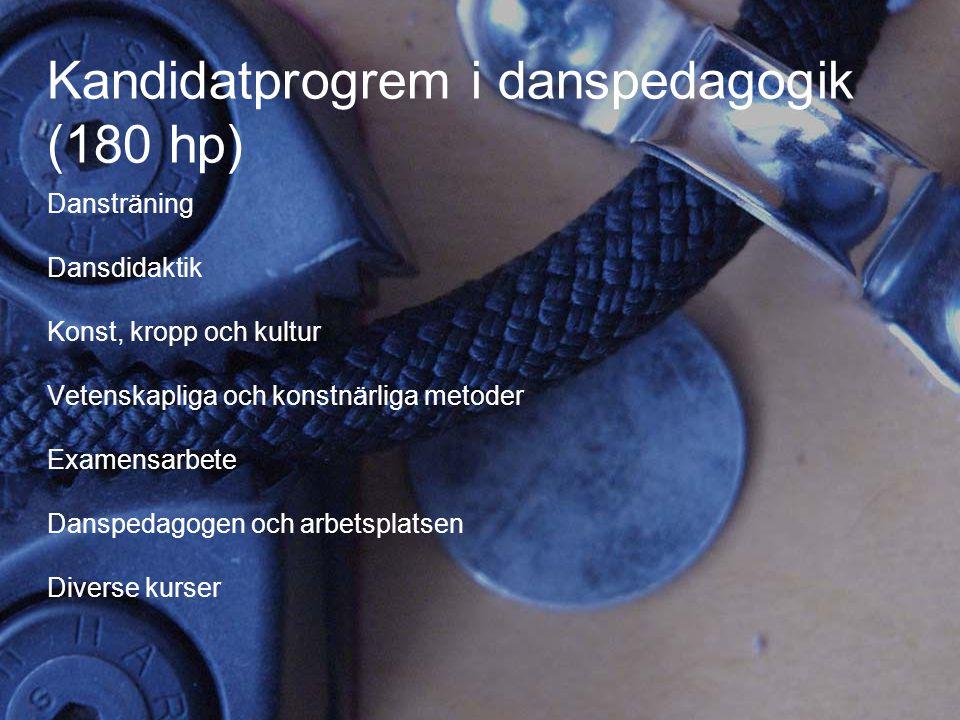 11 Kandidatprogrem i danspedagogik (180 hp) Dansträning Dansdidaktik Konst, kropp och kultur Vetenskapliga och konstnärliga metoder Examensarbete Dans