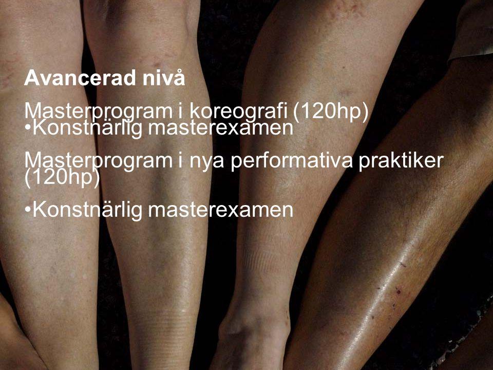 13 Avancerad nivå Masterprogram i koreografi (120hp) • Konstnärlig masterexamen Masterprogram i nya performativa praktiker (120hp) • Konstnärlig maste