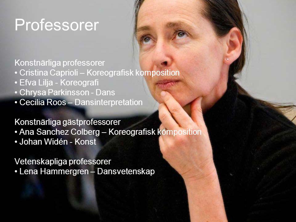 22 Professorer Konstnärliga professorer • Cristina Caprioli – Koreografisk komposition • Efva Lilja - Koreografi • Chrysa Parkinsson - Dans • Cecilia