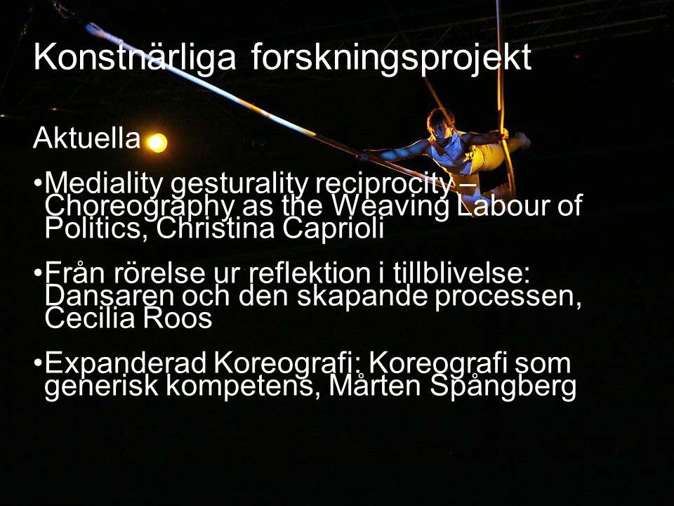 23 Konstnärliga forskningsprojekt Aktuella • Mediality gesturality reciprocity – Choreography as the Weaving Labour of Politics, Christina Caprioli •