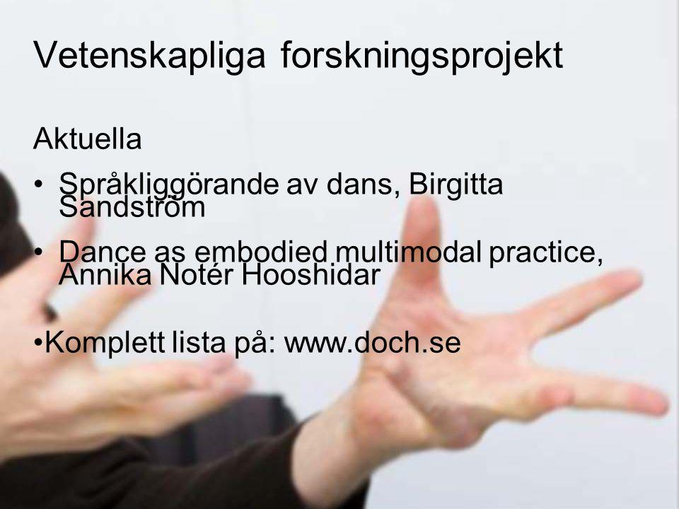 24 Aktuella •Språkliggörande av dans, Birgitta Sandström •Dance as embodied multimodal practice, Annika Notér Hooshidar • Komplett lista på: www.doch.