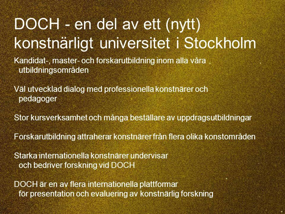 35 DOCH - en del av ett (nytt) konstnärligt universitet i Stockholm Kandidat-, master- och forskarutbildning inom alla våra utbildningsområden Väl utv
