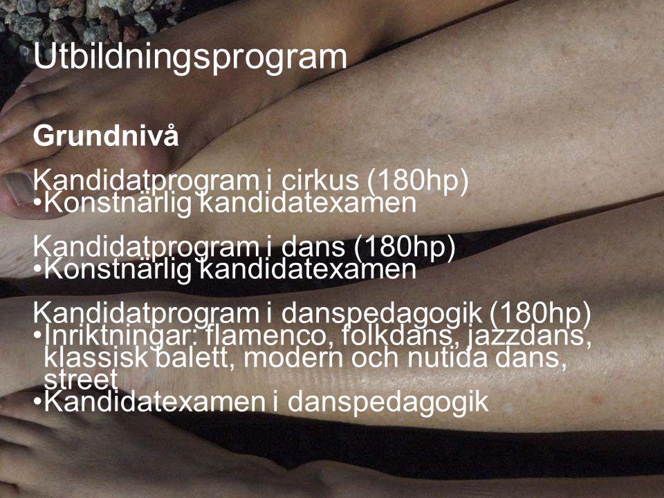 Utbildningsprogram (ff) Ämneslärarprogram i Dans (300 hp) • Ämneslärarexamen Ämneslärarprogram i dans- kompletterande pedagogisk utbildning (90 hp) • Ämneslärarexamen