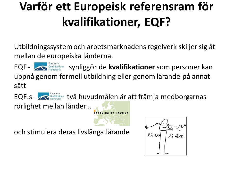 Varför ett Europeisk referensram för kvalifikationer, EQF? Utbildningssystem och arbetsmarknadens regelverk skiljer sig åt mellan de europeiska länder