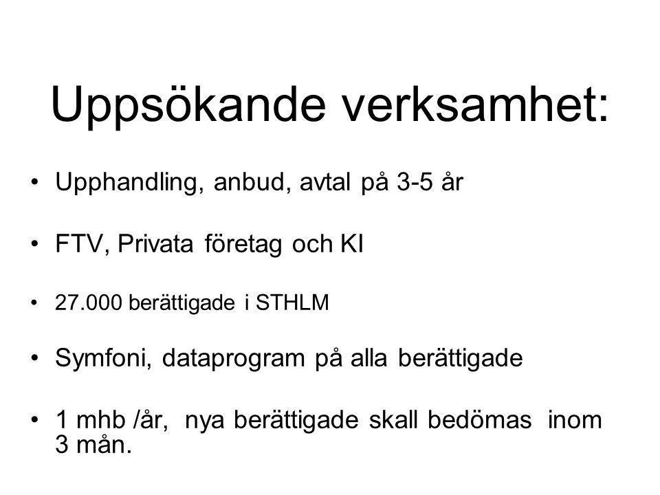 Uppsökande verksamhet: •Upphandling, anbud, avtal på 3-5 år •FTV, Privata företag och KI •27.000 berättigade i STHLM •Symfoni, dataprogram på alla ber