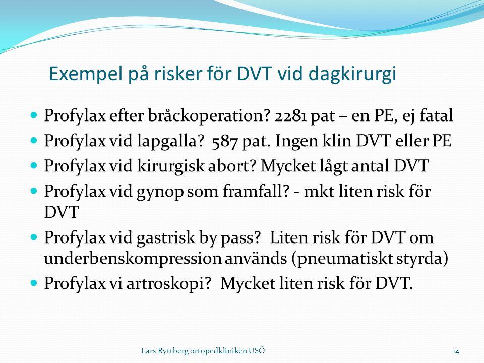 Exempel på risker för DVT vid dagkirurgi  Profylax efter bråckoperation.