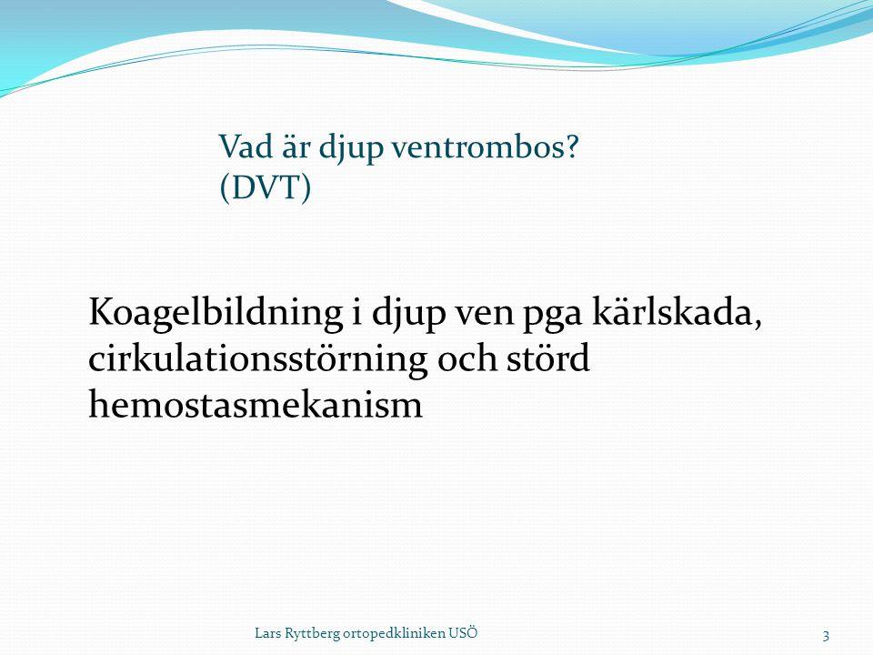 3 Koagelbildning i djup ven pga kärlskada, cirkulationsstörning och störd hemostasmekanism Vad är djup ventrombos.