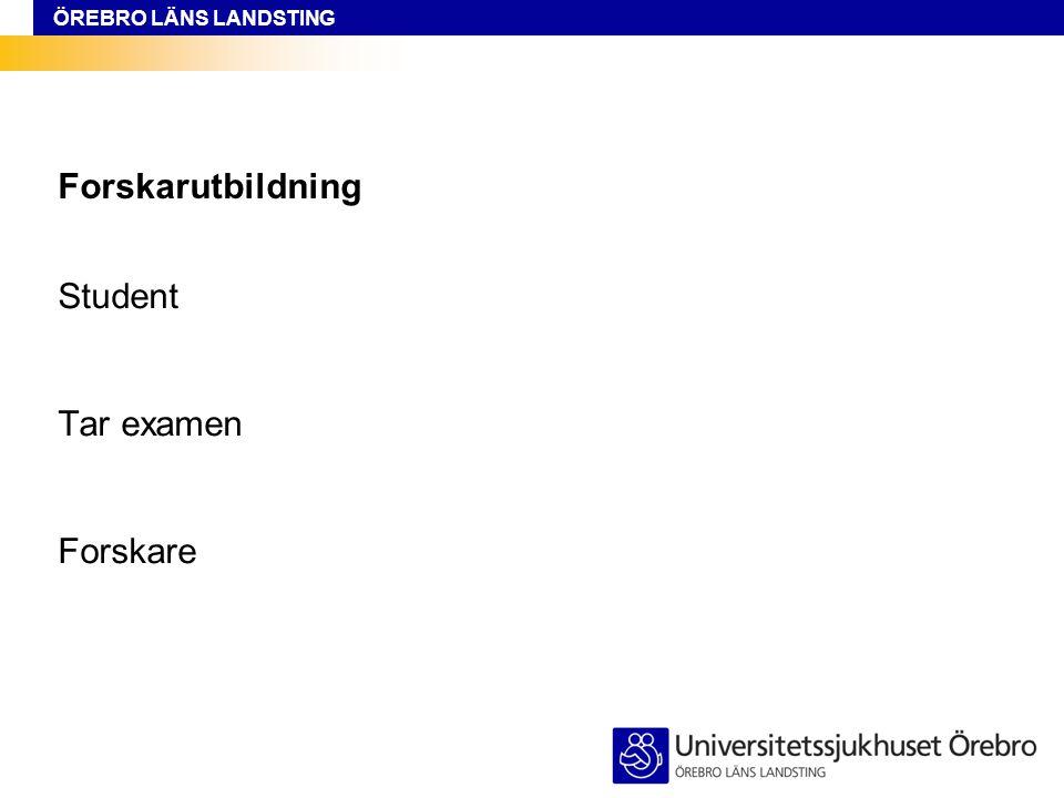 ÖREBRO LÄNS LANDSTING Forskarutbildning Student Tar examen Forskare