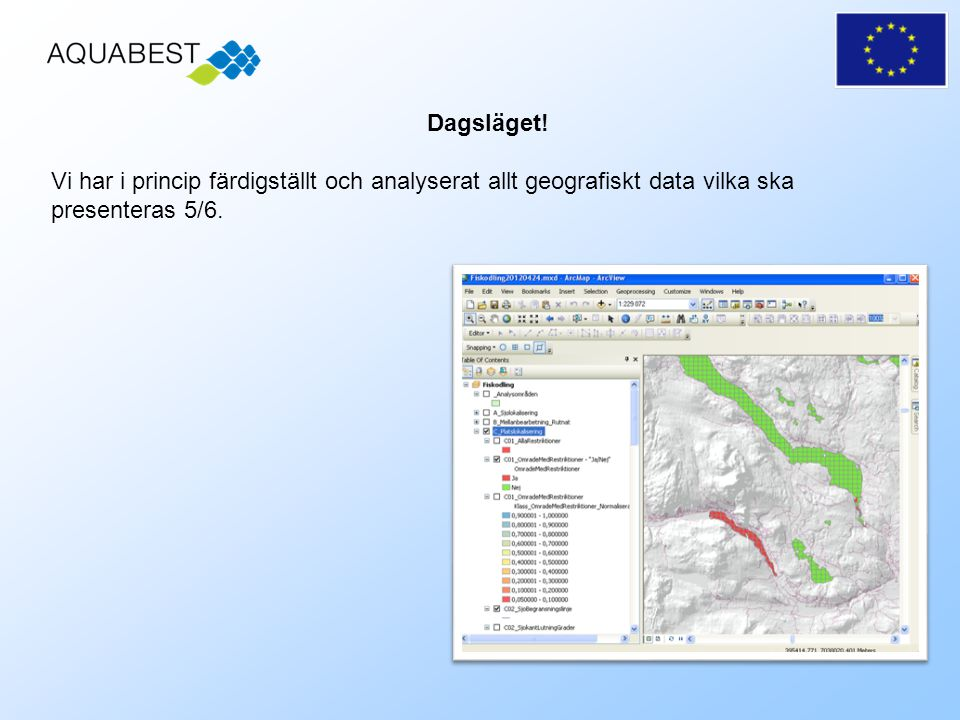 Vi har i princip färdigställt och analyserat allt geografiskt data vilka ska presenteras 5/6.