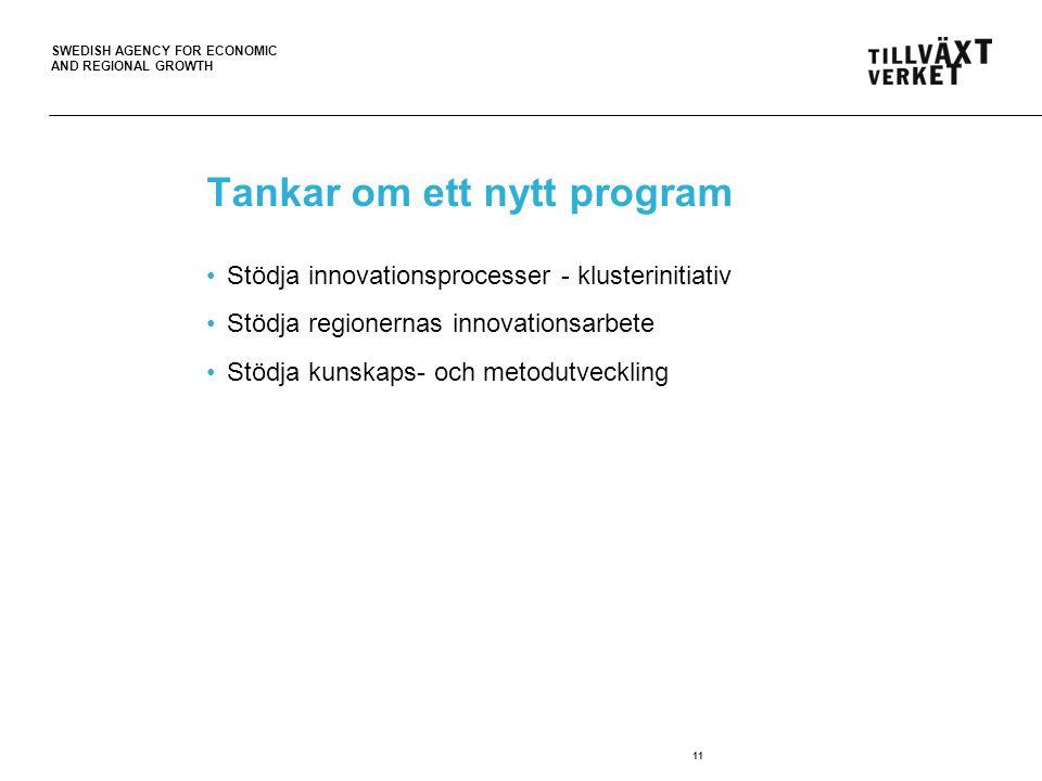 SWEDISH AGENCY FOR ECONOMIC AND REGIONAL GROWTH Tankar om ett nytt program •Stödja innovationsprocesser - klusterinitiativ •Stödja regionernas innovationsarbete •Stödja kunskaps- och metodutveckling 11