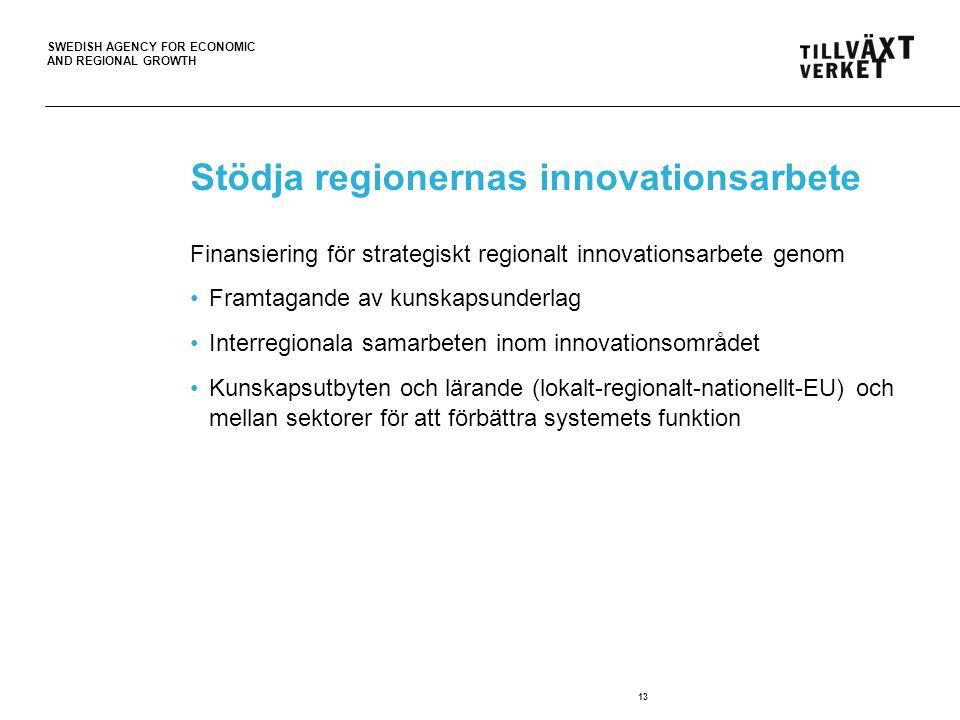 SWEDISH AGENCY FOR ECONOMIC AND REGIONAL GROWTH Stödja regionernas innovationsarbete Finansiering för strategiskt regionalt innovationsarbete genom •Framtagande av kunskapsunderlag •Interregionala samarbeten inom innovationsområdet •Kunskapsutbyten och lärande (lokalt-regionalt-nationellt-EU) och mellan sektorer för att förbättra systemets funktion 13