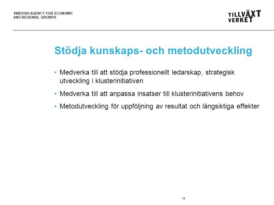 SWEDISH AGENCY FOR ECONOMIC AND REGIONAL GROWTH Viktigast är människorna!!