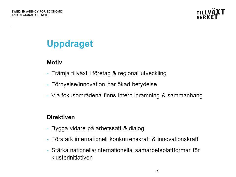 SWEDISH AGENCY FOR ECONOMIC AND REGIONAL GROWTH Uppdraget Motiv -Främja tillväxt i företag & regional utveckling -Förnyelse/innovation har ökad betydelse -Via fokusområdena finns intern inramning & sammanhang Direktiven -Bygga vidare på arbetssätt & dialog -Förstärk internationell konkurrenskraft & innovationskraft -Stärka nationella/internationella samarbetsplattformar för klusterinitiativen 3