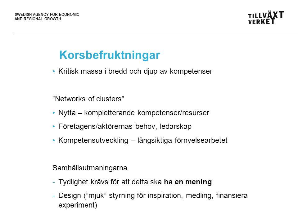 SWEDISH AGENCY FOR ECONOMIC AND REGIONAL GROWTH Internationell konkurrenskraft Om göra skillnad – ligga steget före dvs.
