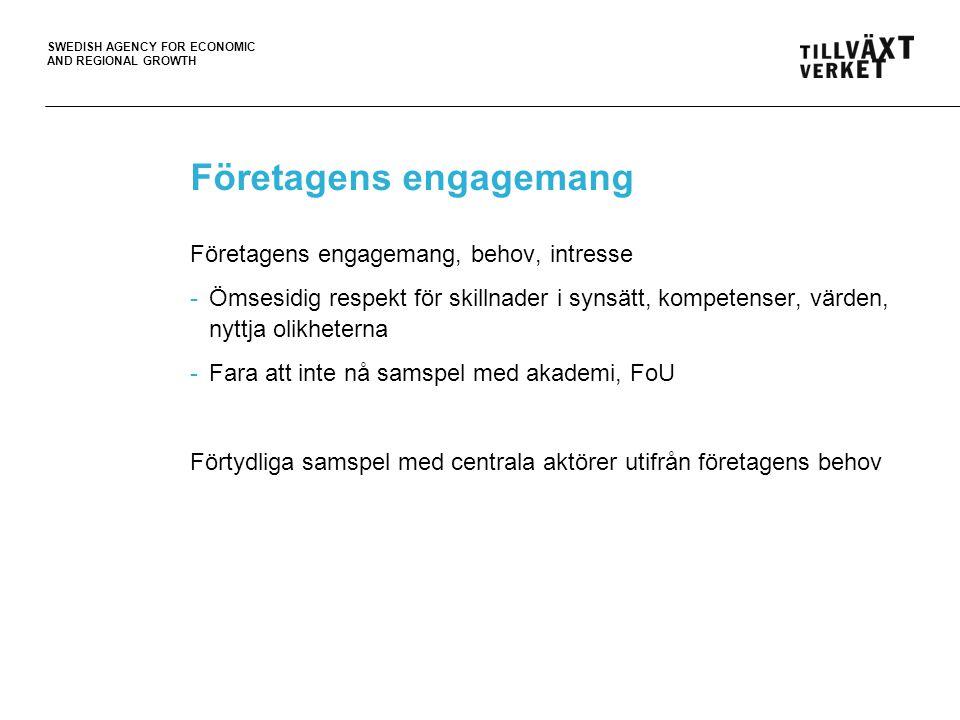 SWEDISH AGENCY FOR ECONOMIC AND REGIONAL GROWTH Företagens engagemang Företagens engagemang, behov, intresse -Ömsesidig respekt för skillnader i synsätt, kompetenser, värden, nyttja olikheterna -Fara att inte nå samspel med akademi, FoU Förtydliga samspel med centrala aktörer utifrån företagens behov