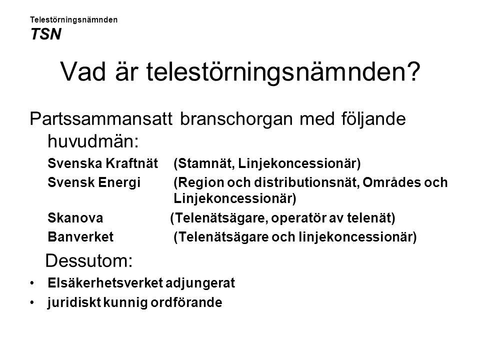 Vad är telestörningsnämnden? Partssammansatt branschorgan med följande huvudmän: Svenska Kraftnät (Stamnät, Linjekoncessionär) Svensk Energi(Region oc
