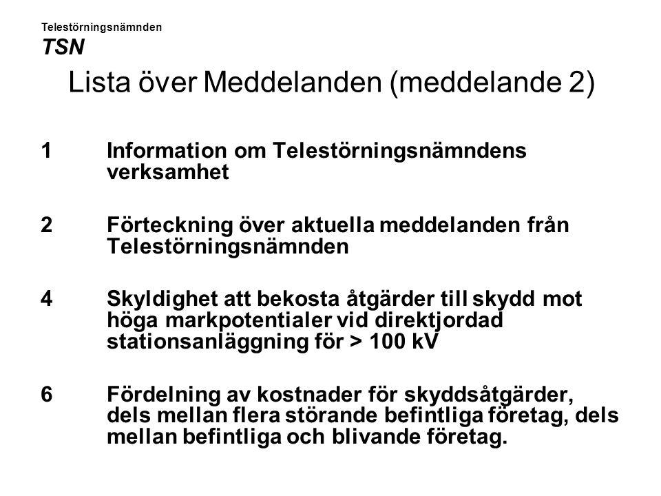 Lista, forts 8 Användande av Opto- eller Radiolänkförbindelse för att undvika störningar 10 Rapporter om vissa jordfel på direktjordade starkströmsanläggningar med högre spänning än 100 kV 11 Handläggningsregler i fråga om åtgärder mot ljudstörningar 12 Anmälan och samråd rörande nya och ändrade tele-och starkströmsanläggningar 13 Förhandsuppskattning av kostnader för anordnande av överspänningsskydd Telestörningsnämnden TSN