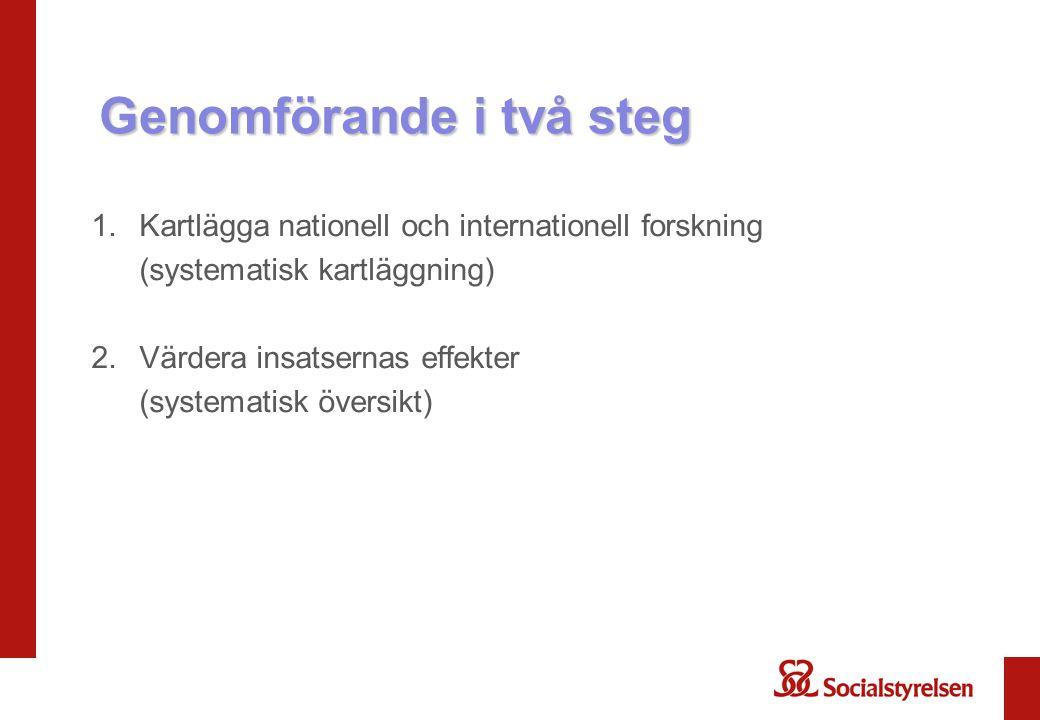 Genomförande i två steg 1.Kartlägga nationell och internationell forskning (systematisk kartläggning) 2.Värdera insatsernas effekter (systematisk över