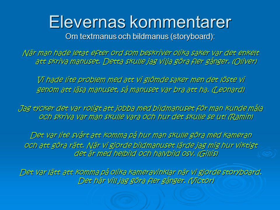 Elevernas kommentarer Om textmanus och bildmanus (storyboard): När man hade letat efter ord som beskriver olika saker var det enkelt att skriva manuse