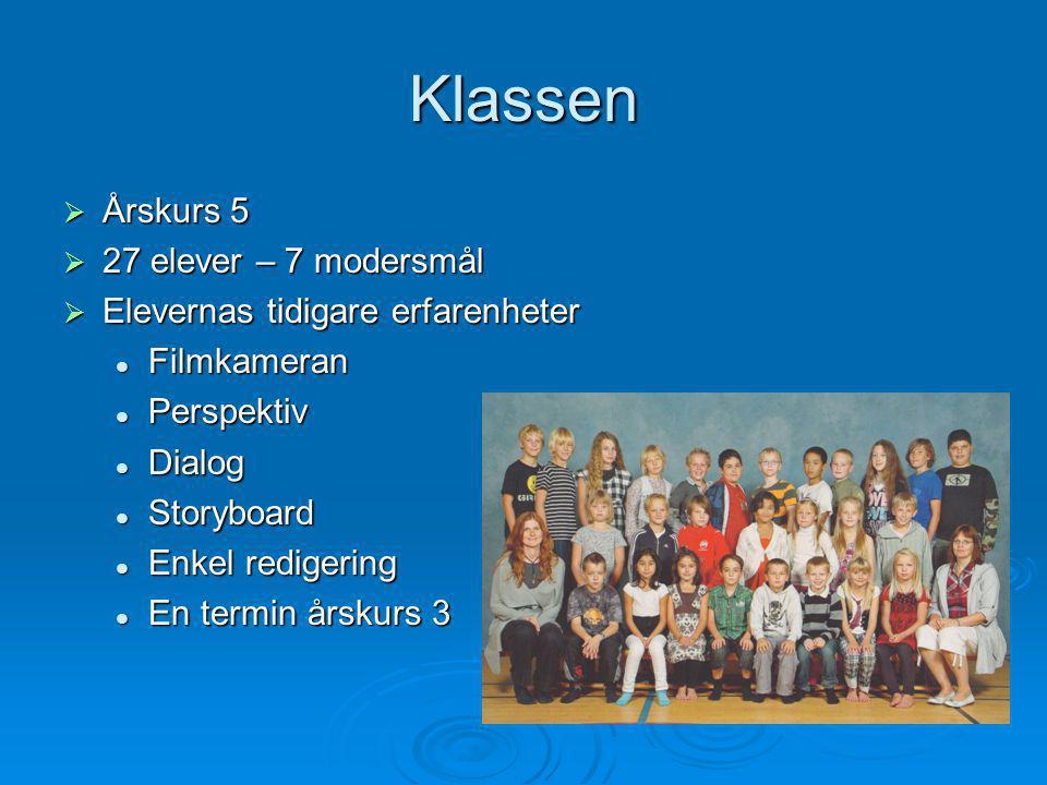 Klassen  Årskurs 5  27 elever – 7 modersmål  Elevernas tidigare erfarenheter  Filmkameran  Perspektiv  Dialog  Storyboard  Enkel redigering 