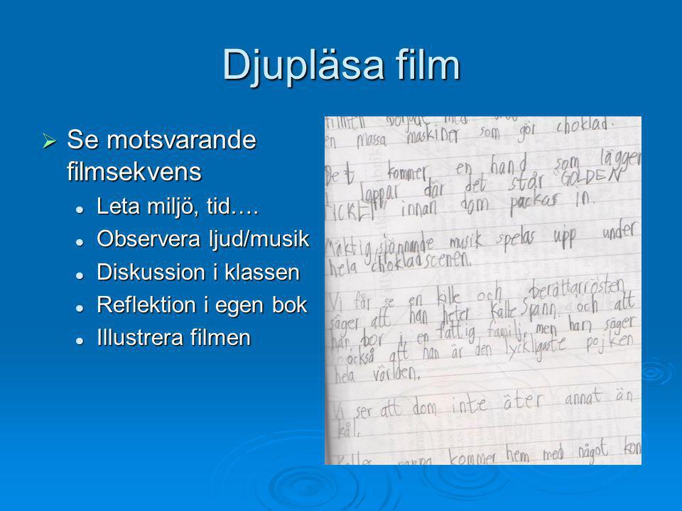Djupläsa film  Se motsvarande filmsekvens  Leta miljö, tid….  Observera ljud/musik  Diskussion i klassen  Reflektion i egen bok  Illustrera film