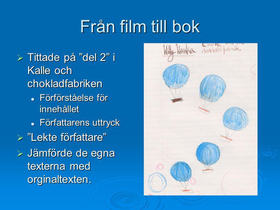 """Från film till bok  Tittade på """"del 2"""" i Kalle och chokladfabriken  Förförståelse för innehållet  Författarens uttryck  """"Lekte författare""""  Jämfö"""