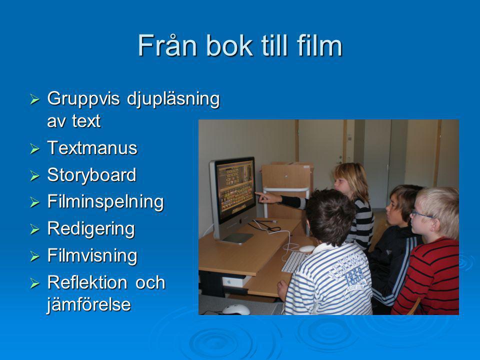 Från bok till film  Gruppvis djupläsning av text  Textmanus  Storyboard  Filminspelning  Redigering  Filmvisning  Reflektion och jämförelse