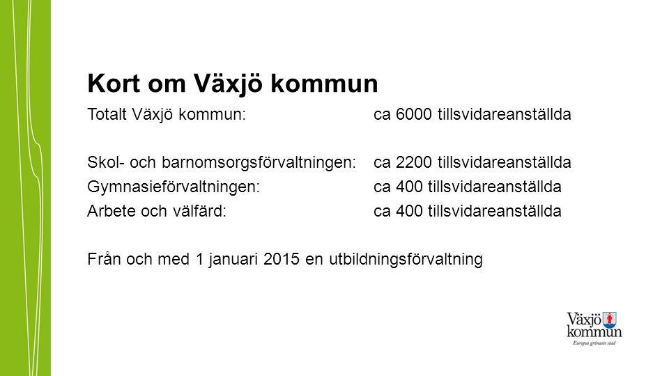 Kort om Växjö kommun Totalt Växjö kommun: ca 6000 tillsvidareanställda Skol- och barnomsorgsförvaltningen: ca 2200 tillsvidareanställda Gymnasieförval