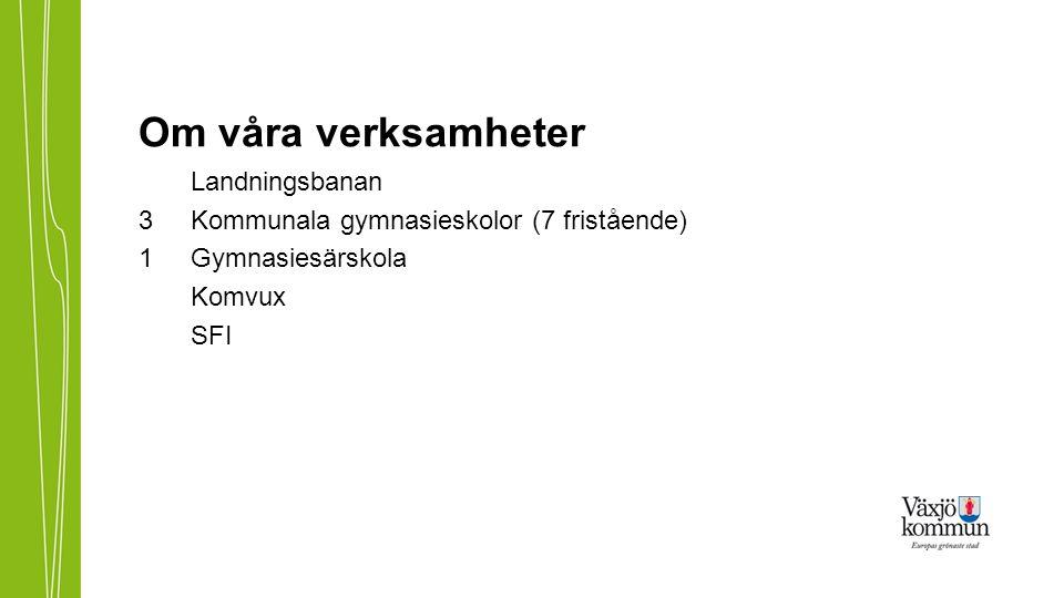 Om våra verksamheter Landningsbanan 3Kommunala gymnasieskolor (7 fristående) 1 Gymnasiesärskola Komvux SFI