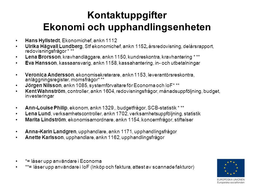 Kontaktuppgifter Ekonomi och upphandlingsenheten •Hans Hyllstedt, Ekonomichef, ankn 1112 •Ulrika Hägvall Lundberg, Stf ekonomichef, ankn 1152, årsredovisning, delårsrapport, redovisningsfrågor * ** •Lena Brorsson, kravhandläggare, ankn 1150, kundreskontra, kravhantering * ** •Eva Hansson, kassaansvarig, ankn 1158, kassahantering, in- och utbetalningar •Veronica Andersson, ekonomisekreterare, ankn 1153, leverantörsreskontra, anläggningsregister, momsfrågor* ** •Jörgen Nilsson, ankn 1085, systemförvaltare för Economa och IoF* ** •Kent Wahnström, controller, ankn 1604, redovisningsfrågor, månadsuppföljning, budget, investeringar •Ann-Louise Philip, ekonom, ankn 1329,, budgetfrågor, SCB-statistik * ** •Lena Lund, verksamhetscontroller, ankn 1702, verksamhetsuppföljning, statistik •Marita Lindström, ekonomisamordnare, ankn 1154, koncernfrågor, stiftelser •Anna-Karin Landgren, upphandlare, ankn 1171, upphandlingsfrågor •Anette Karlsson, upphandlare, ankn 1162, upphandlingsfrågor •*= låser upp användare i Economa •**= låser upp användare i IoF (Inköp och faktura, attest av scannade fakturor)
