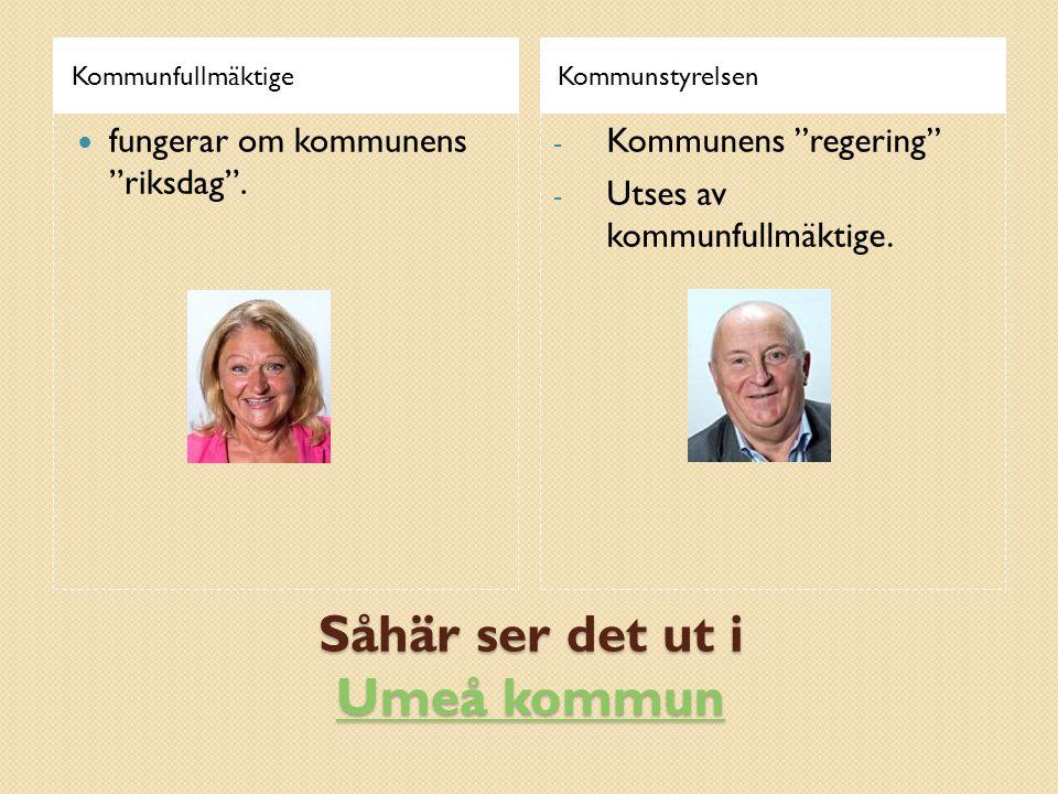 Såhär ser det ut i Umeå kommun Umeå kommun Umeå kommun KommunfullmäktigeKommunstyrelsen  fungerar om kommunens riksdag .