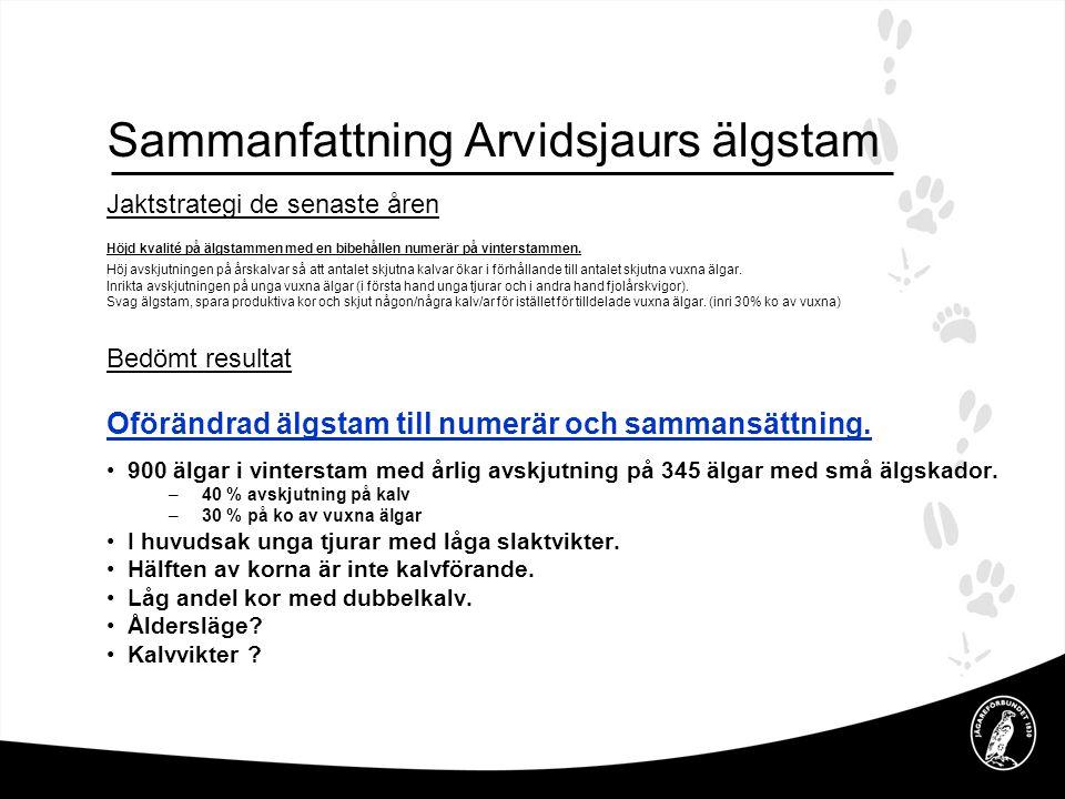 Jaktstrategi de senaste åren Höjd kvalité på älgstammen med en bibehållen numerär på vinterstammen.
