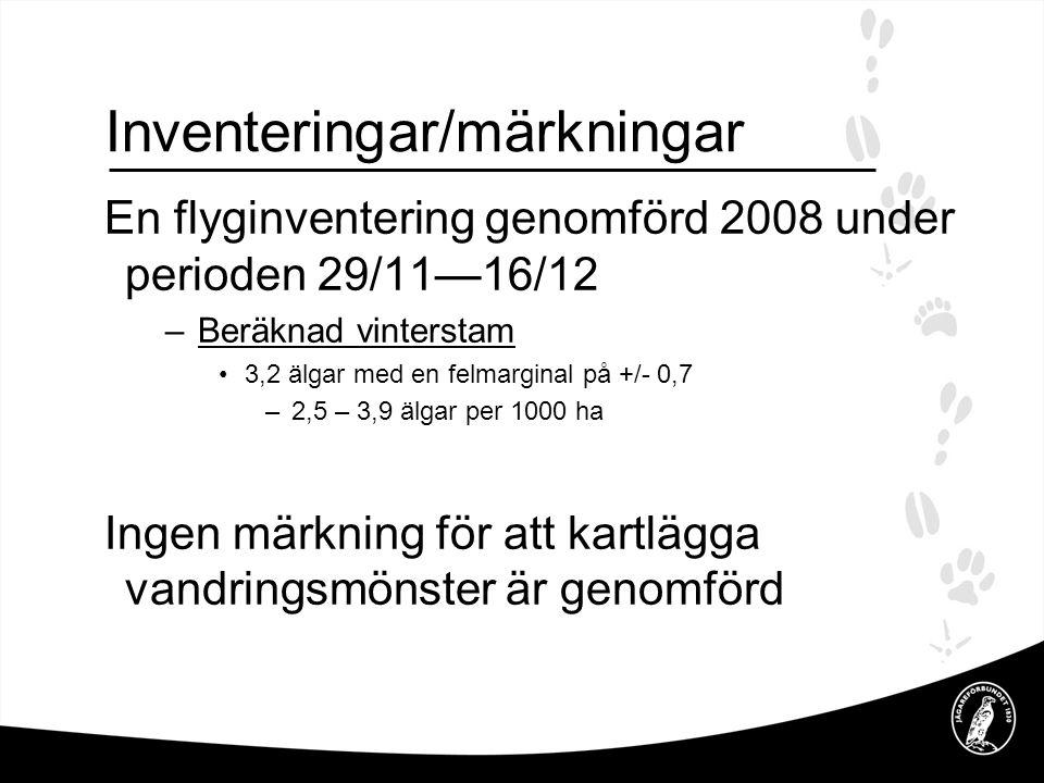 Inventeringar/märkningar En flyginventering genomförd 2008 under perioden 29/11—16/12 –Beräknad vinterstam •3,2 älgar med en felmarginal på +/- 0,7 –2,5 – 3,9 älgar per 1000 ha Ingen märkning för att kartlägga vandringsmönster är genomförd