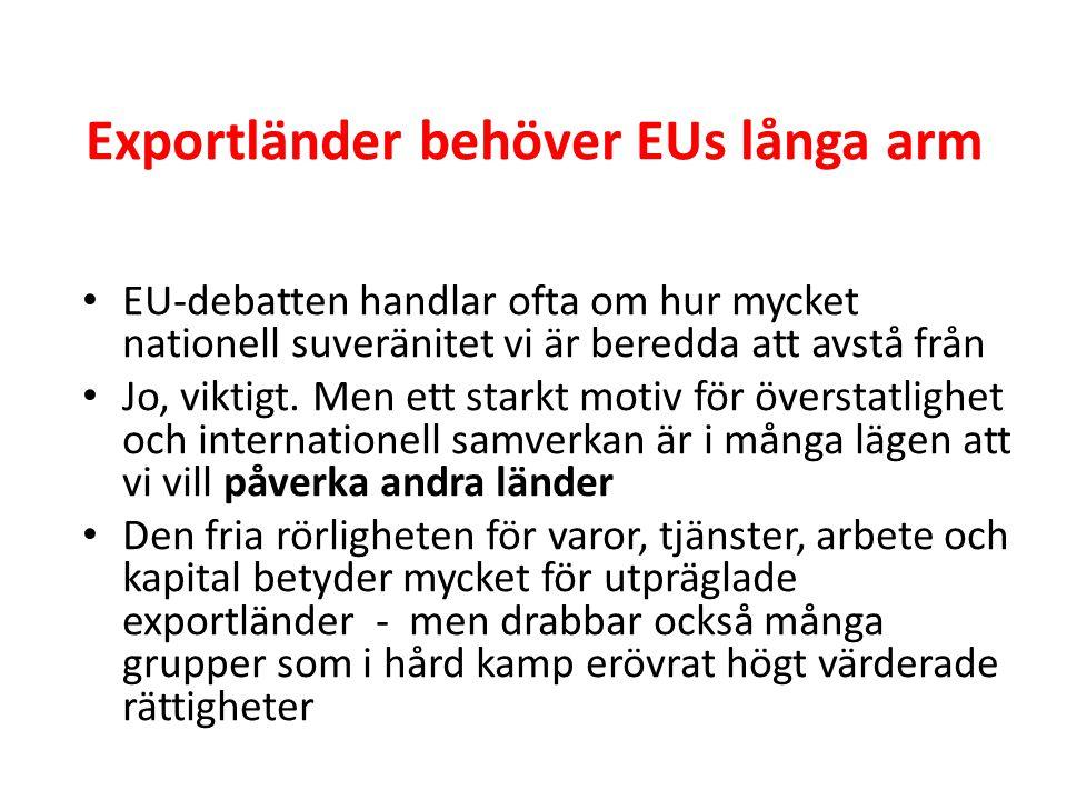 Exportländer behöver EUs långa arm • EU-debatten handlar ofta om hur mycket nationell suveränitet vi är beredda att avstå från • Jo, viktigt. Men ett