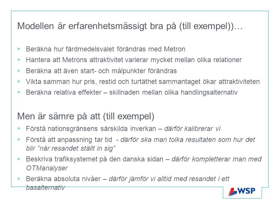 Modellen är erfarenhetsmässigt bra på (till exempel))…  Beräkna hur färdmedelsvalet förändras med Metron  Hantera att Metrons attraktivitet varierar