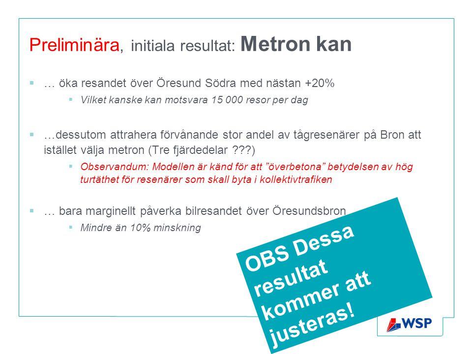 Preliminära, initiala resultat: Metron kan  … öka resandet över Öresund Södra med nästan +20%  Vilket kanske kan motsvara 15 000 resor per dag  …de