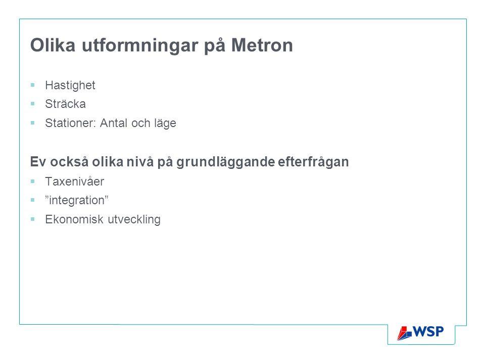 Olika utformningar på Metron  Hastighet  Sträcka  Stationer: Antal och läge Ev också olika nivå på grundläggande efterfrågan  Taxenivåer  integration  Ekonomisk utveckling