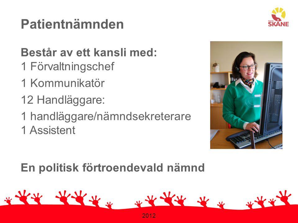 2012 Våra arbetsområden 1.Patientärenden 2.Informationsverksamhet 3.Stödpersonsverksamhet Lag om patientnämndsverksamhet (1998:1656)